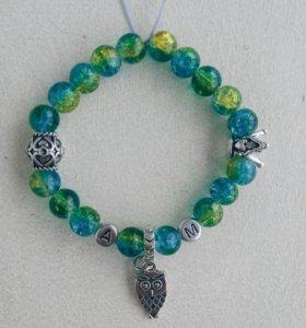 Именные браслеты натуральные камни мрамор кулоны