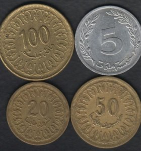 4 монеты Туниса