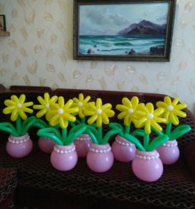 Цветочки к празднику из шаров!НЕДОРОГО!!!