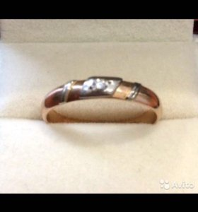 Кольцо золотое с бриллиантом времён СССР