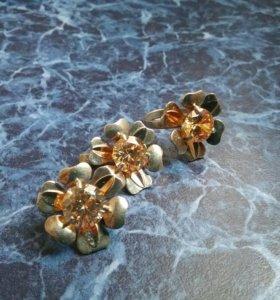 Серебряный комплект серьги+кольцо