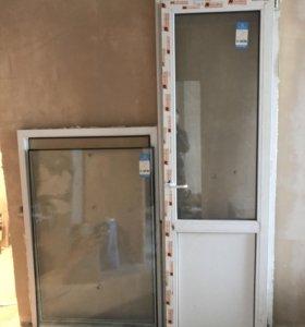 Пластиковое окно с дверью БУ