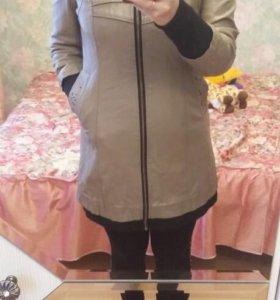 Кожанная удлиненная куртка