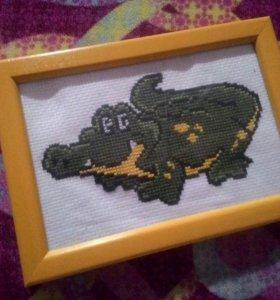 """Вышивка """"Крокодильчик"""" в рамке"""
