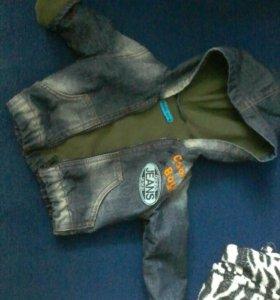 Утепленная джинсовочка.футболочка в подарок
