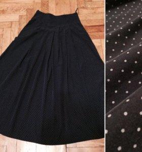 юбка синяя в мелкий горошек
