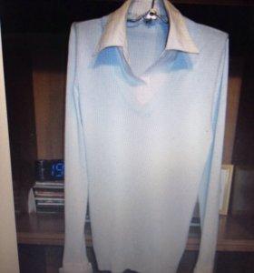 Пуловер-рубашка; разм.48-50