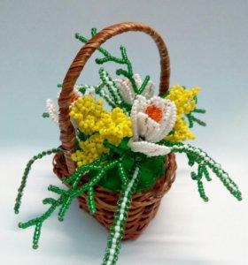 Корзины цветов из бисера