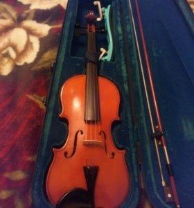 Скрипка 3/4 со смычком и чехлом