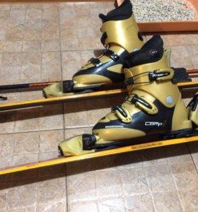 Горные лыжи, ботинки, лыжные палки. Детские