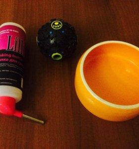 Поилка, игрушка и чашка для грызунов