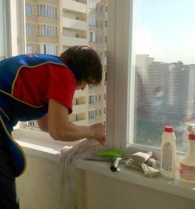 Мытье окон в квартире (мойка окон, помывка окон)