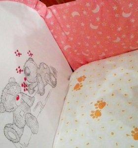 Бортики и балдахин с держателем для кроватки