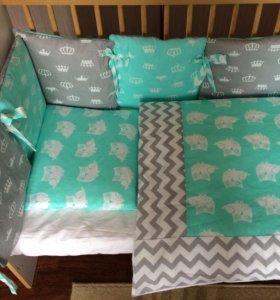 Комплект в кроватку для новорождённого,бортики