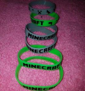 новые силиконовые браслеты minecraft