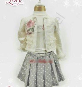 Комплект новый (жакет, юбка, лонгслив)