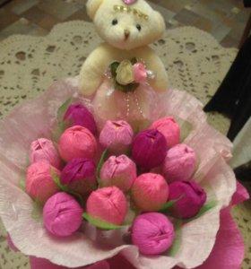 Букеты из конфет и мишек