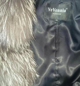 Куртка кожаная мех натуральная чернобурка