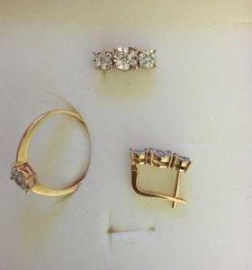 Золото кольцо с бриллиантом #17