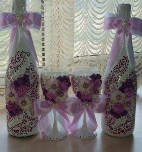 Свадебные шампанское с бокалами