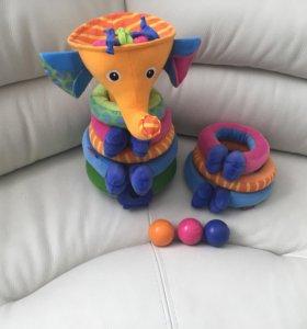 Музыкальная пирамидка слоник с шариками