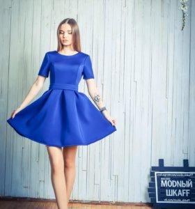Синее пышное платье
