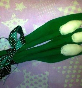 Букет из текстильных тюльпанов