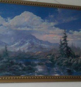 Картина написана краской размер 1м на 70 см