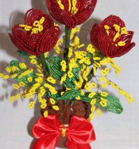 Цветы из бисера.Тюльпаны.