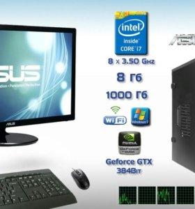 """Комп. Игровой Intel i7 8x3,5GHz 8Гб/1Тб c Мон.24"""""""