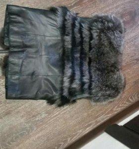 Кожанный пиджак+жилетка меховая