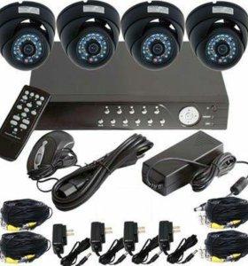 Видеорегистратор и 4 камеры видеонаблюдения