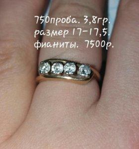 Золотое кольцо 750пробы