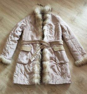 Пальто-куртка женская с мехом натуральным