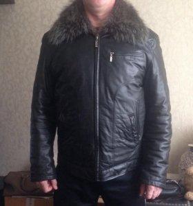 Кожаная зимняя куртка на натуральном меху