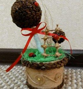 Топиарий подарок 8 марта кофейное дерево счастья