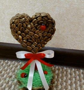 Топиарий подарок 8 марта дерево счастья кофейное
