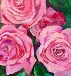 """Картина маслом """"Розы""""."""