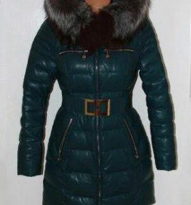 Куртка кожаная шикарная пуховик с чернобуркой