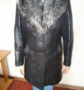 Пальто кожа. Зима, весна/осень. Размер 44.