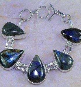 Браслет из натуральных камней Лабрадорит Серебро