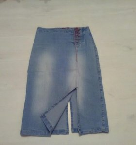 Юбка джинсовая стрейч, midi, S