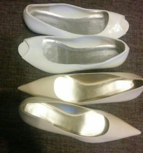 Туфли белые и бежевые