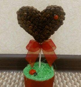 Топиарий подарок дерево счастья 8 марта кофе