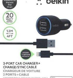 Зарядка Belkin 2 usb с проводом