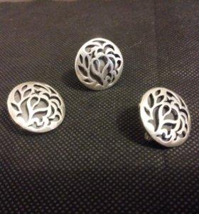 Комплект серебро вес 11.86. Размер кольца 17.5.