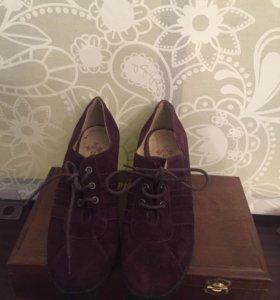 Фиолетовые туфли ботильоны замша