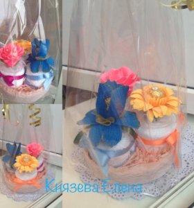 Полотенце-пирожное с конфетой