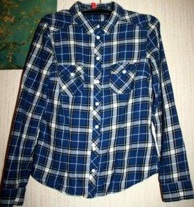 Рубашка в клетку синяя HM