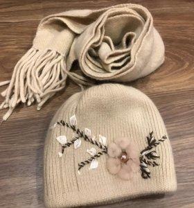 Комплект (шапка+шарф) из шерсти ангоры